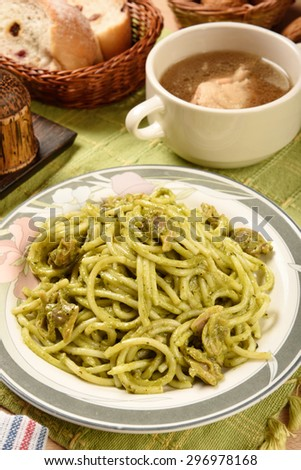 Traditional spaghetti  with clams and pesto  - stock photo
