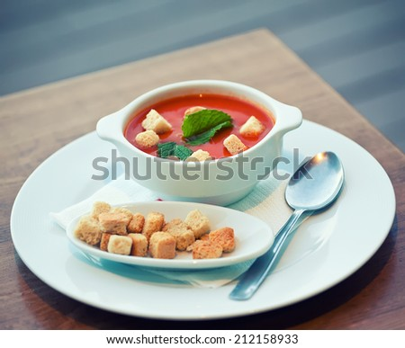 Traditional Spanish dish gazpacho, Spain