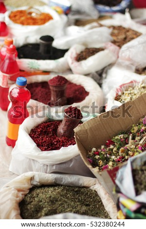Traditional Spices and herbs shop in the street of Lahic, Azerbaijan