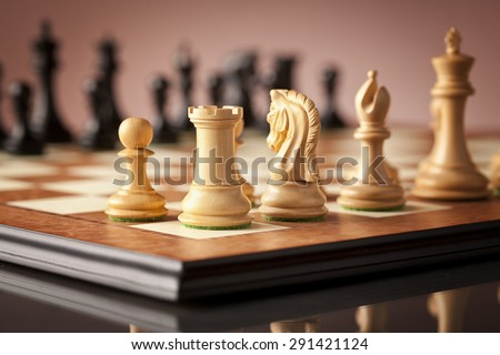 Traditional Staunton white chess pieces carved in natural boxwood (left pawn rook and knight in focus) standing on elm burl and bird's eye maple superior chessboard - stock photo