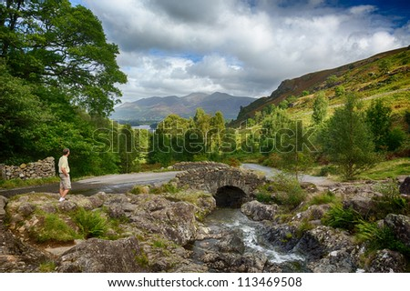 Traditional stone Ashness Bridge in English Lake District - stock photo