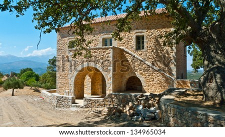 Traditional Stone houses in Greece - stock photo