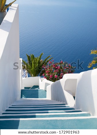 Traditional style stairway on greek island, Santorini, Greece.