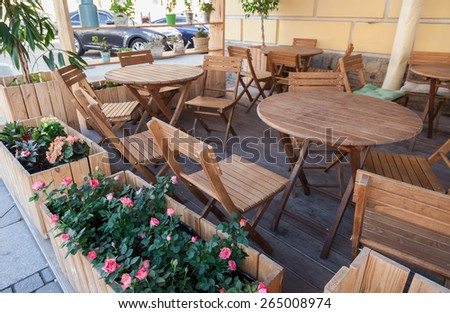 Traditional summer street cafe in St. Petersburg, Russia - stock photo