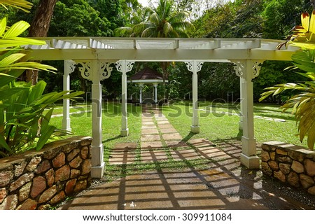 Traditional summerhouse on the tropical island - stock photo