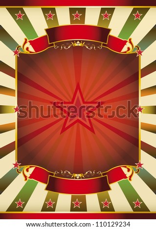 Traditional sunbeam poster. A large red frame with sunbeams for your message . - stock photo