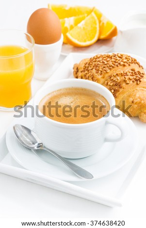 Traditional sweet breakfast and espresso, vertical, closeup