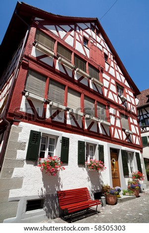 Traditional Swiss Architecture And Home In A Small Village