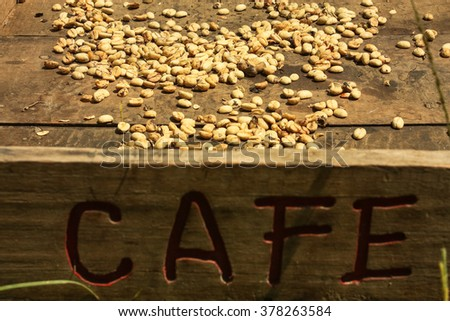 Traditional system of drying the coffee in the sun. Colombian Green Coffee - stock photo