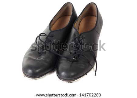 Traditional Tap dancing shoes on a white background and ...