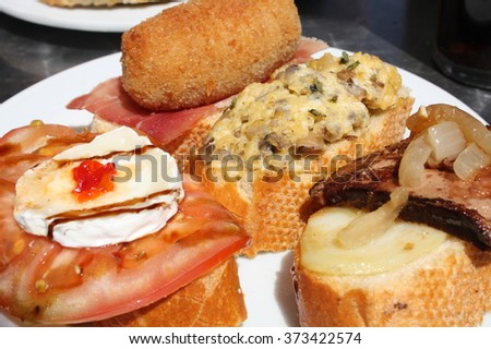 Traditional tapas from Bilbao and the Basque country, in Spain. - stock photo