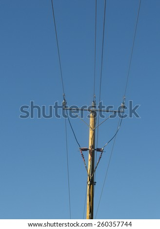 Traditional telephony cables. Public switched telephone network. - stock photo