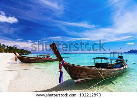 Traditional Thai boats near the beach. Thailand