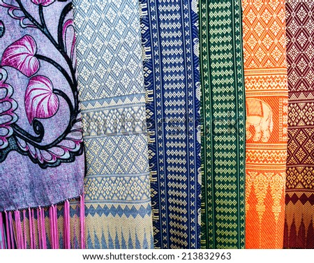 traditional Thai fabric texture - cultural design tablecloth pattern