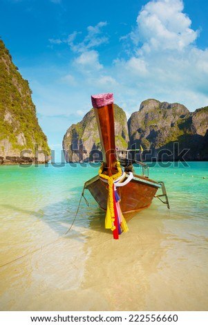 Traditional thai long tail boat, Thailand Phi-Phi island. - stock photo