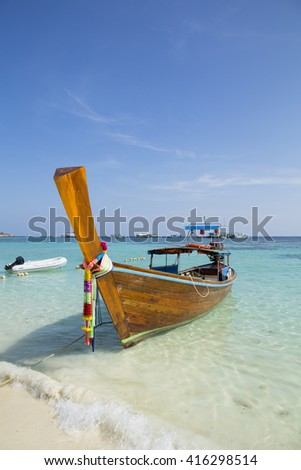 Traditional thai longtail boat in Andaman beach, Thailand