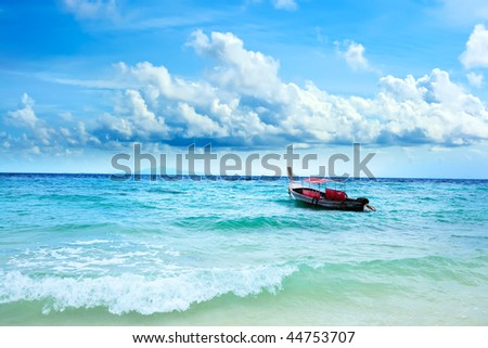 Traditional Thai longtail boat in the ocean