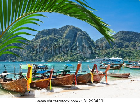 Traditional Thai Longtail boat on the beach of Phi Phi Don,Thailand