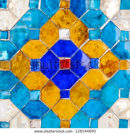 Traditional Thai mosaic art on the wall of grand church,Thailand - stock photo