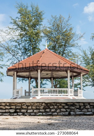 Traditional Thai pavilion near the beach of southern sea. - stock photo