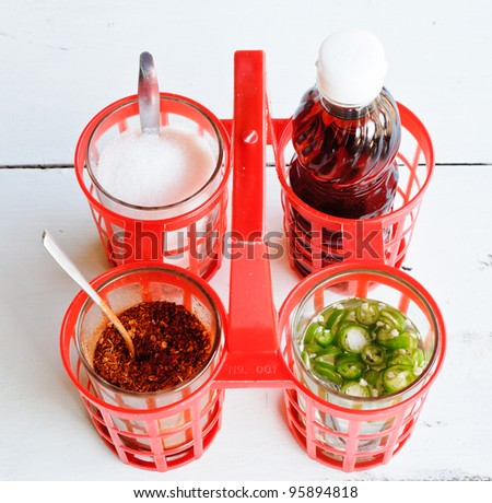 Traditional Thai seasoning in on the white table. - stock photo