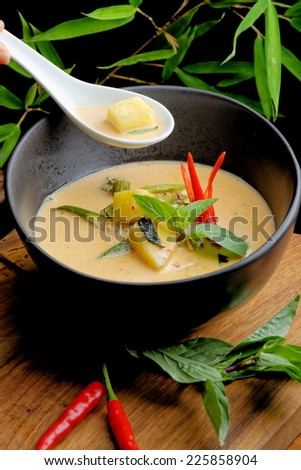 Traditional thai spicy red curry  - stock photo