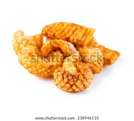 traditional Thai spicy snack food, squid chips, closeup - stock photo