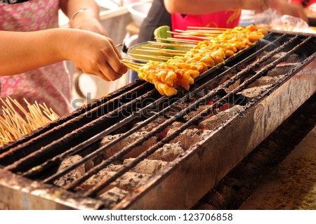 Traditional Thai steak  roasted pork - stock photo