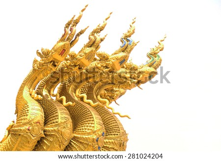 Traditional thai style art of naga head - stock photo