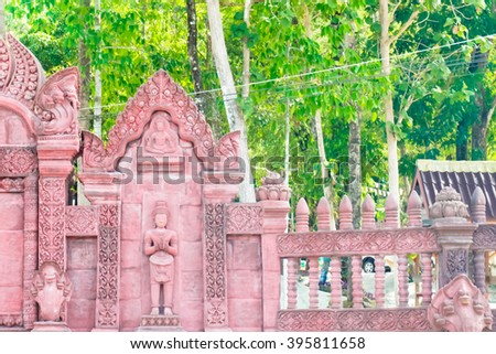 Traditional Thai style church beautiful architecture - stock photo