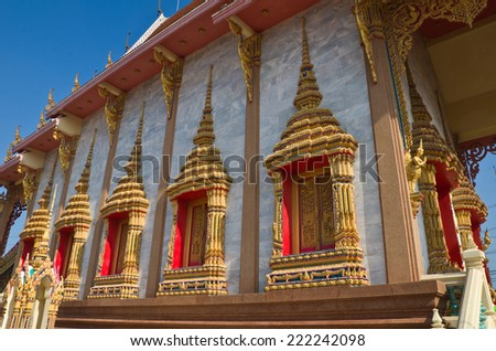Traditional Thai style church windows - stock photo