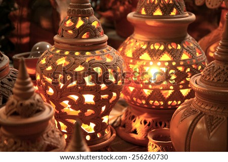 Traditional Thai style Clay pottery for lamp - stock photo