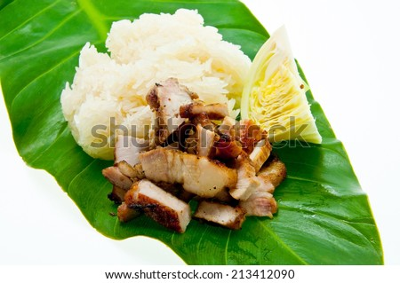 Traditional Thai style grilled pork with rice - stock photo