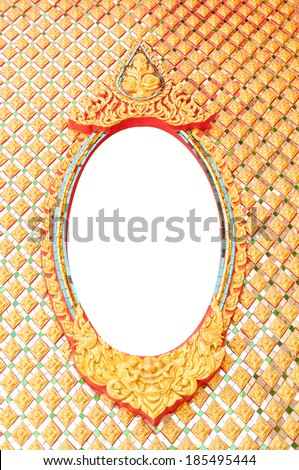 Traditional Thai style of Buddhist church window - stock photo