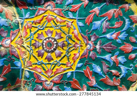 Traditional Thai style on temple wall in Thailand - stock photo