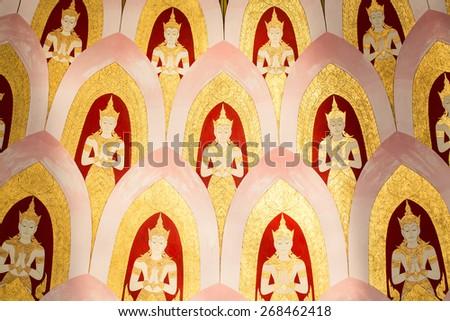 Traditional Thai style painting art on temple wall at Wat Pak Nam, Bangkok,Thailand - stock photo