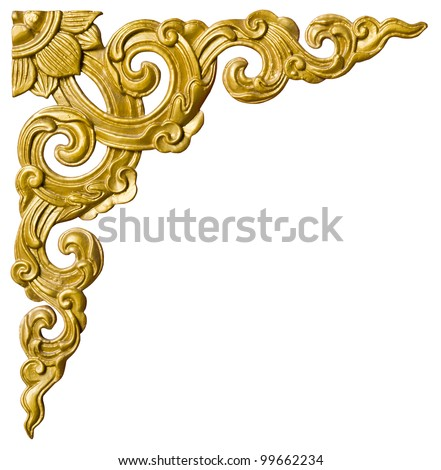 Traditional Thai style pattern decorative isolated on white background in temple,Thailand. - stock photo