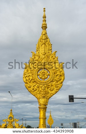 Traditional Thai style pattern,public road - stock photo