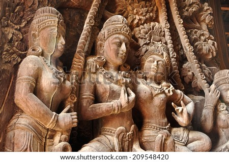 traditional Thai style wood engraving - stock photo