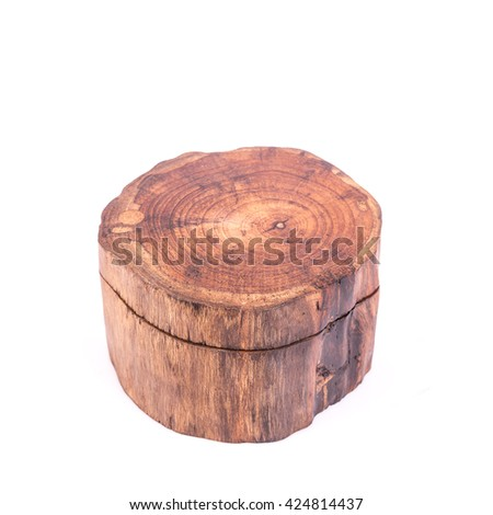 Traditional thai style wooden box isolated on white background