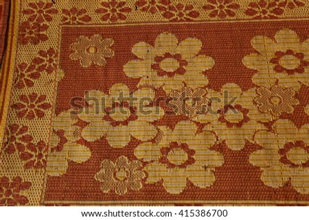 Traditional Thailand flax weaving, detail of a woven mat. - stock photo