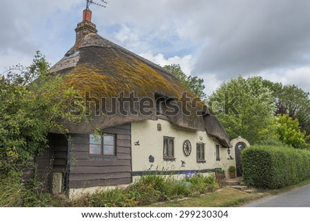 Traditional Thatched cottage in rural English countryside - stock photo