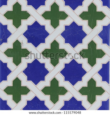 Traditional tiles from old house in Valencia, Spain - stock photo