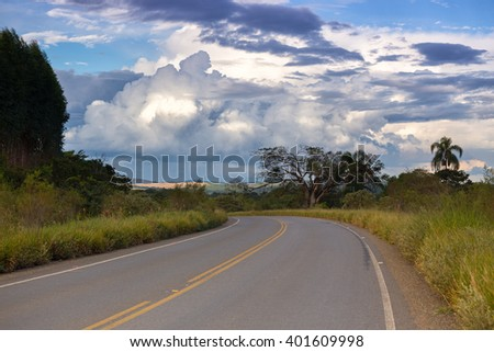 traditional tropical road Brasilia, Brazil - stock photo