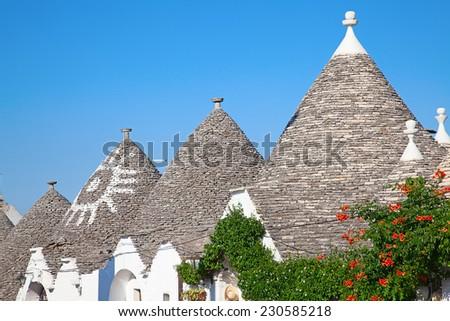 "Traditional ""Trulli"" houses of the Apulia region - stock photo"