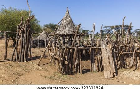 Traditional tsemay houses. Small village in tsemay territory near Weita. Omo Valley. Ethiopia - stock photo
