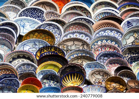 traditional Tunisian ceramics  - stock photo
