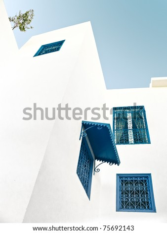 Traditional Tunisian windows in Sidi Bou Said - stock photo