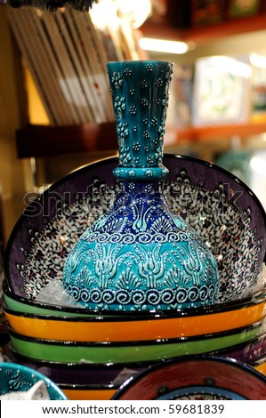 Traditional turkish blue porcelain on the bazzar - stock photo