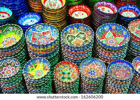 Traditional Turkish ceramics on the Grand Bazaar - stock photo